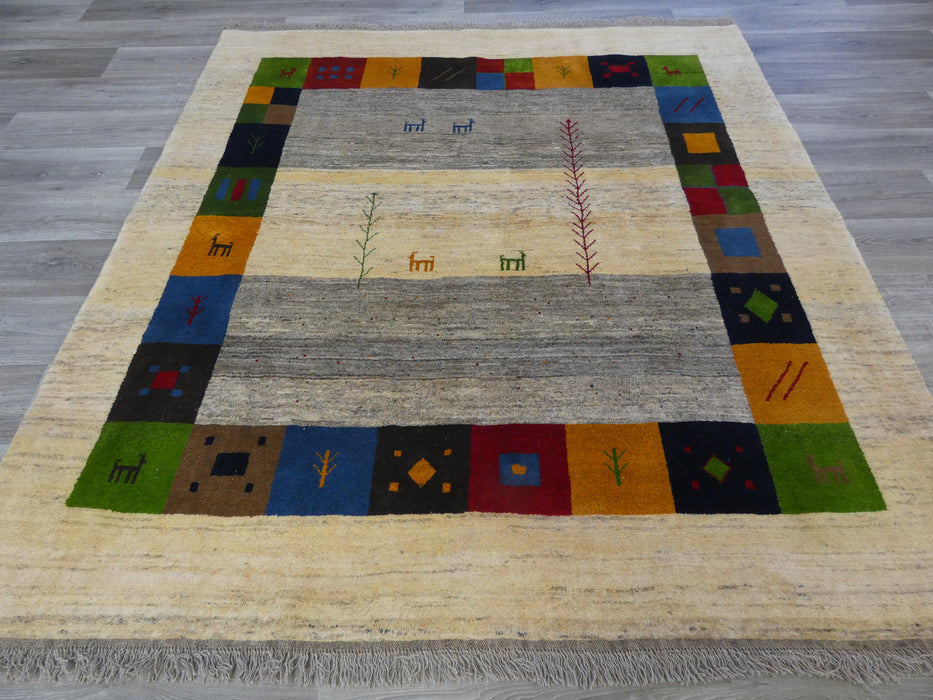 Authentic Persian Hand Knotted Gabbeh Square Rug Size: 207 x 195cm-Persian Gabbeh Rug-Rugs Direct