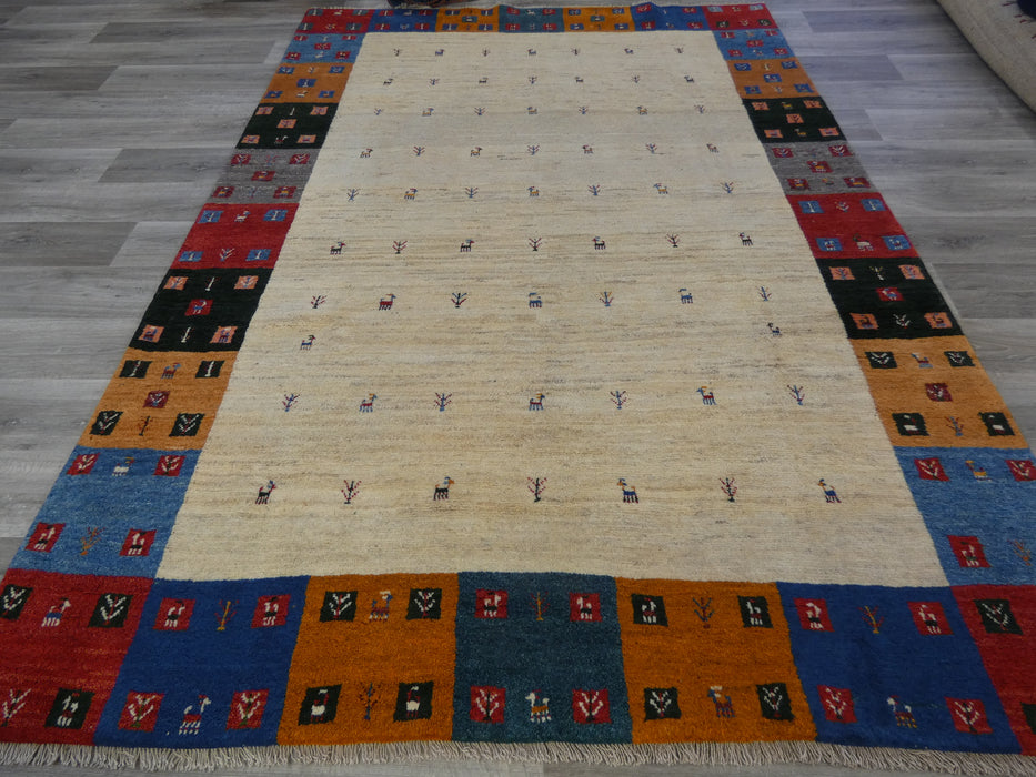Authentic Persian Hand Knotted Gabbeh Rug Size: 283 x 203cm-Persian Gabbeh Rug-Rugs Direct
