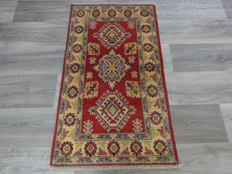 Afghan Hand Knotted Kazak Small Rug Size: 102 x 59cm-Afghan Rug-Rugs Direct