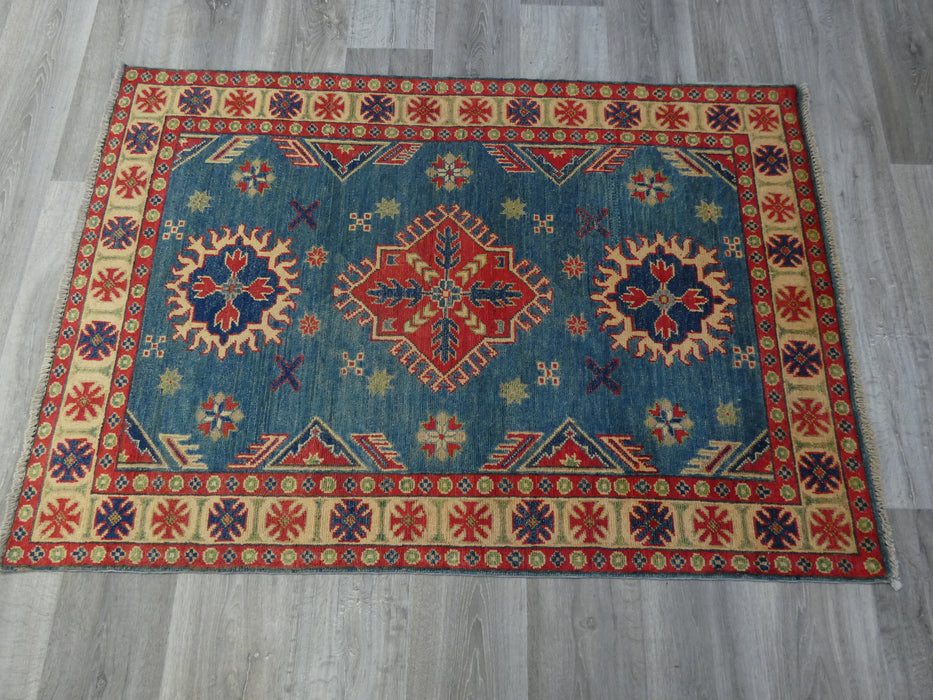 Afghan Hand Knotted Kazak Rug Size: 152 x 102cm-Afghan Rug-Rugs Direct