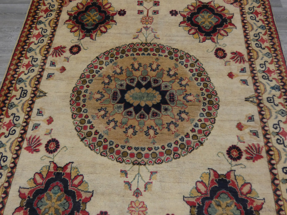Afghan Hand Knotted Kazak Rug Size: 192 x 155cm-Afghan Rug-Rugs Direct