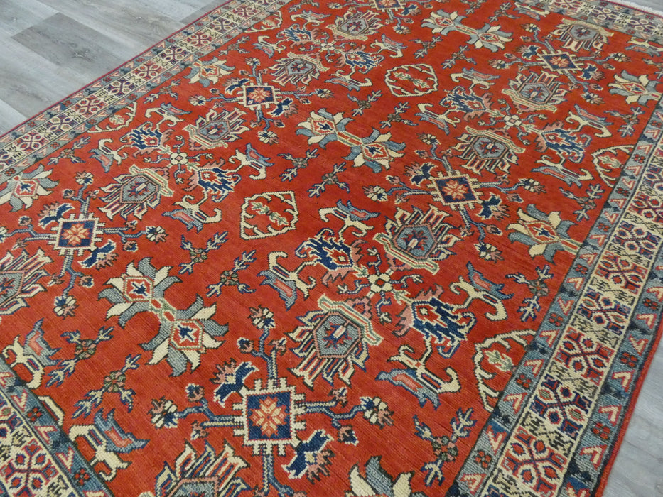 Afghan Hand Knotted Kazak Rug Size: 205 x 157cm-Afghan Rug-Rugs Direct