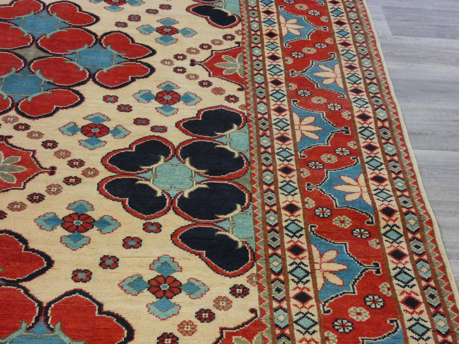 Afghan Hand Knotted Kazak Rug Size: 296 x 201cm-Oriental Rug-Rugs Direct