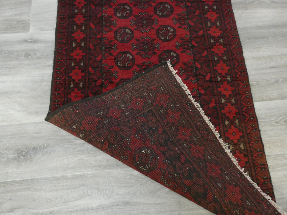 Afghan Hand Knotted Turkman Runner Size: 285 x 78cm-Afghan Runner-Rugs Direct