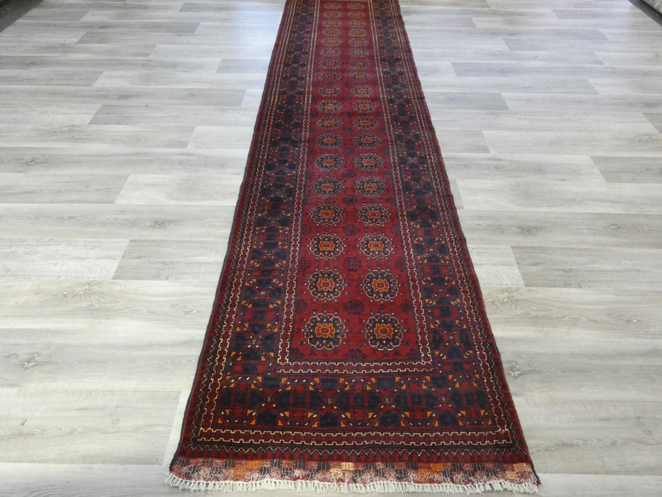 Afghan Hand Knotted Khal Mohammadi Runner Size: 379 x 92cm-Afghan Runner-Rugs Direct