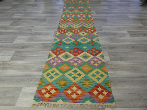 Afghan Hand Made Choubi Kilim Runner Size: 388 x 82cm-Kilim-Rugs Direct