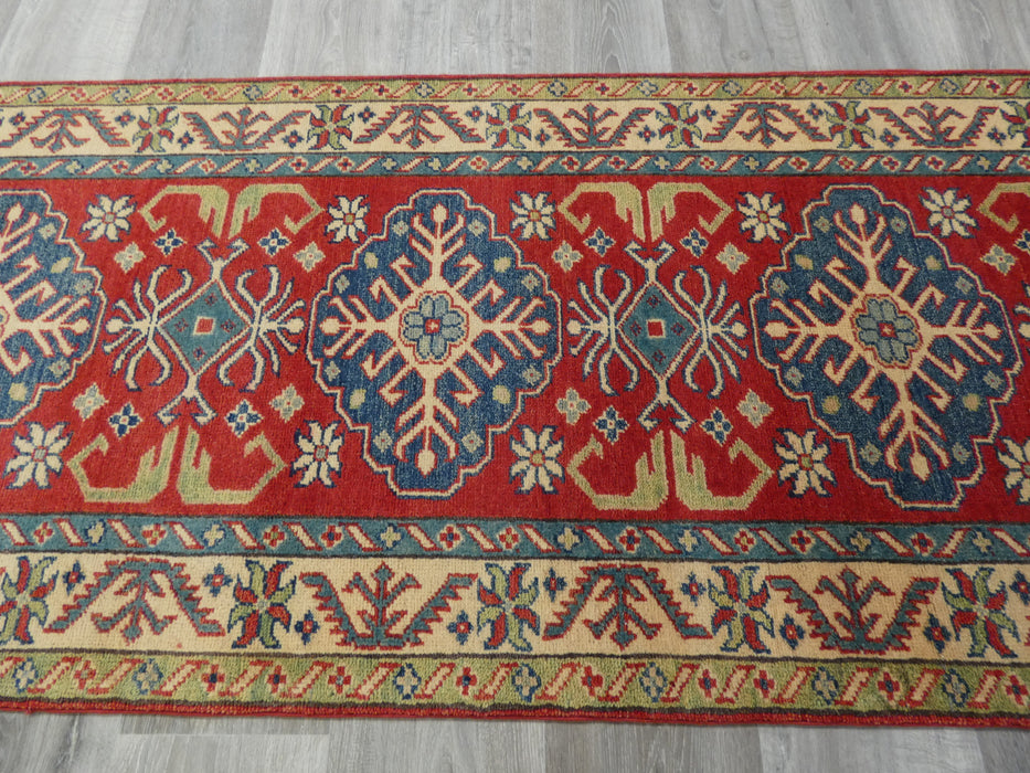 Afghan Hand Knotted Kazak Runner Size: 300 x 83cm-Kazak Rug-Rugs Direct