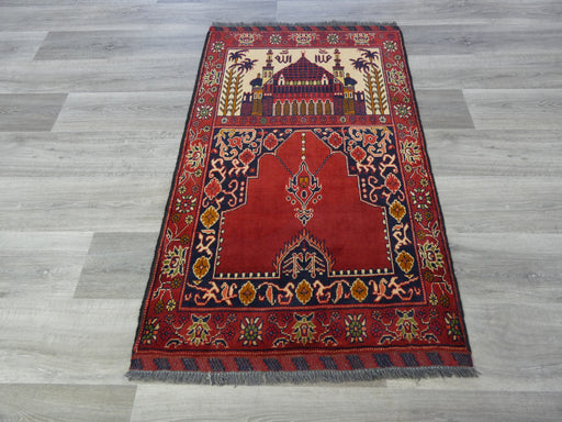 Afghan Hand Knotted Prayer Rug Size: 80 x 128cm-Prayer Rug-Rugs Direct