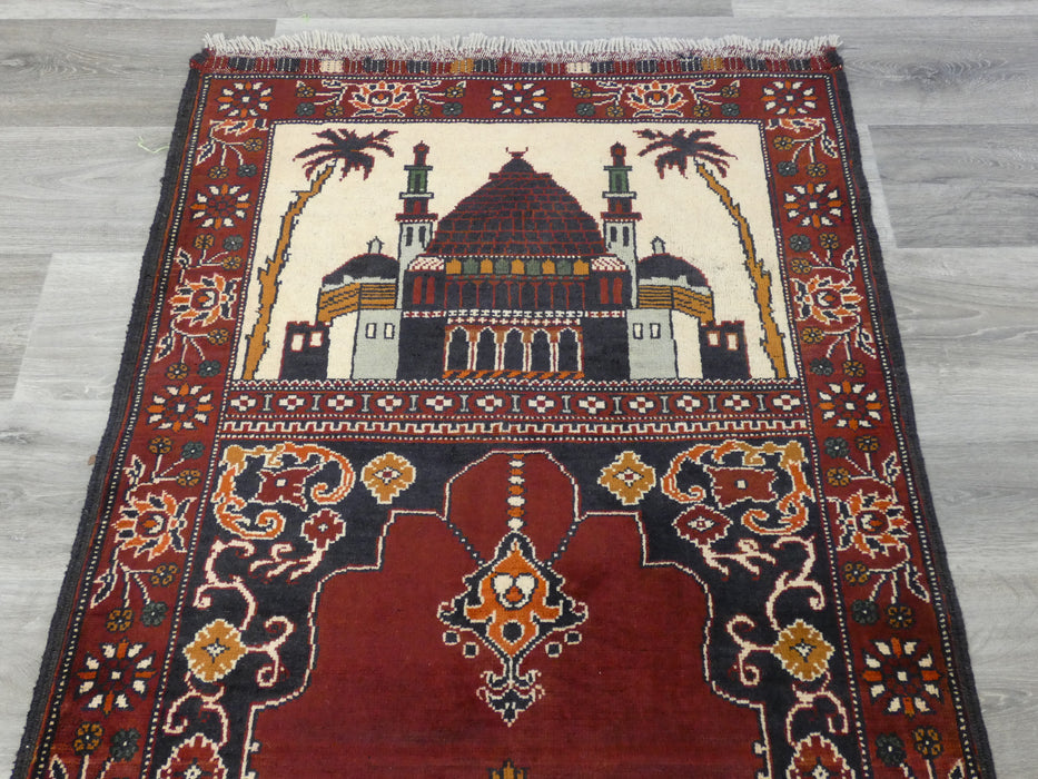 Afghan Hand Knotted Prayer Rug Size: 79 x 118cm-Prayer Rug-Rugs Direct