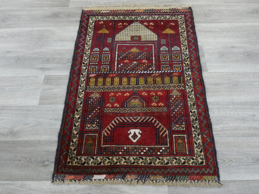 Afghan Hand Knotted Prayer Rug Size: 78 x 109cm-Prayer Rug-Rugs Direct