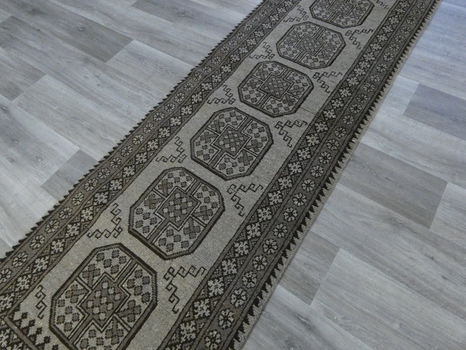 Afghan Hand Knotted Turkman Hallway Runner Size: 278 x 78cm-Afghan Rug-Rugs Direct