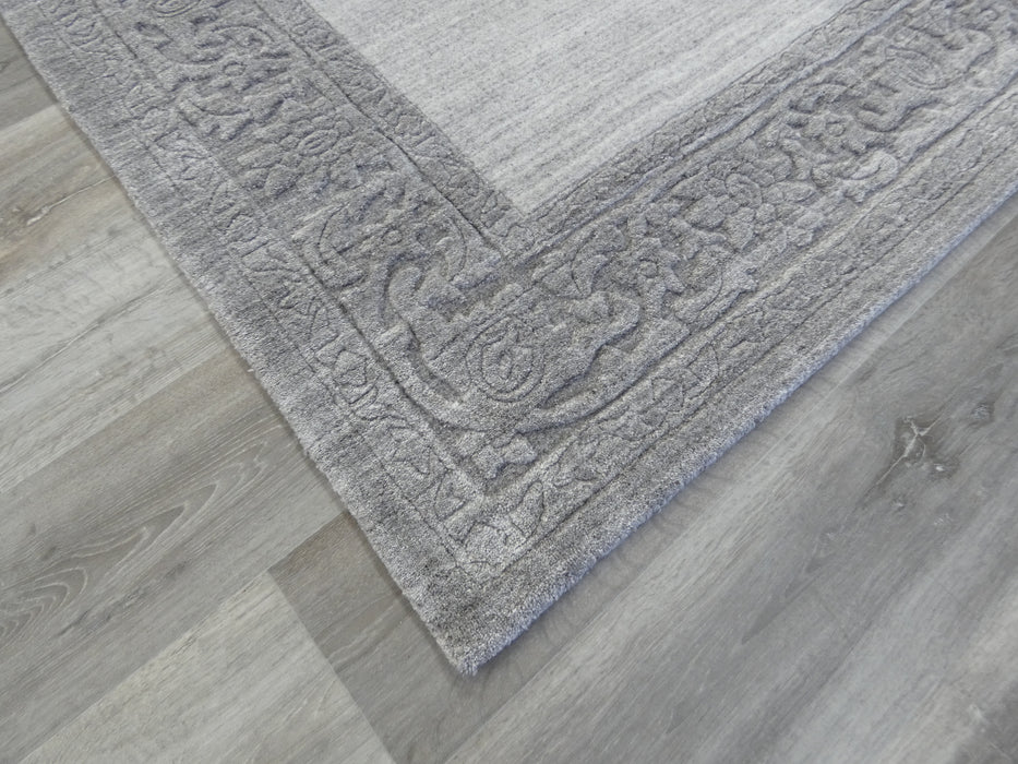 Modern Plain Light and Dark Grey Border High Quality Handmade Wool & Bamboo Silk Rug