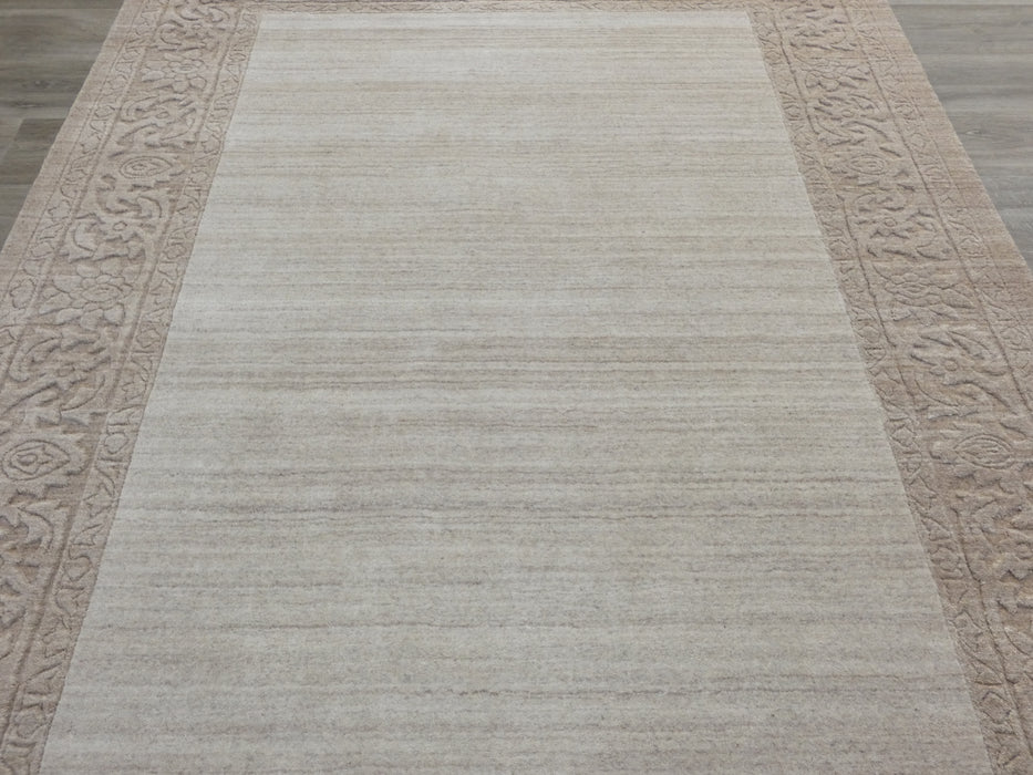 Modern Plain Beige and Cream Border High Quality Handmade Wool & Bamboo Silk Rug