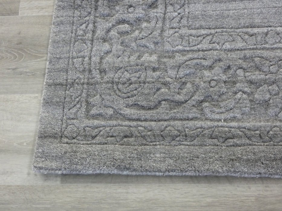 Modern Plain Grey Border High Quality Handmade Wool & Bamboo Silk Rug