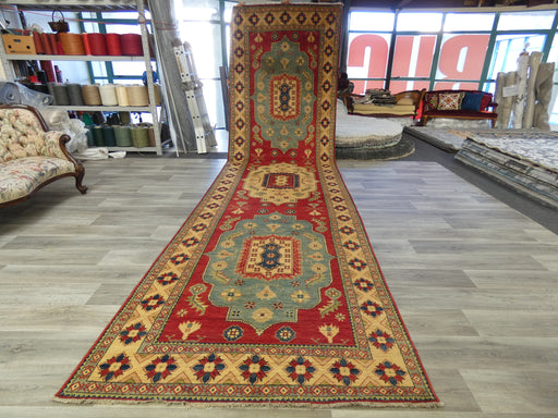 Afghan Hand Knotted Kazak Oversized Hallway Runner Size: 566 x 149cm