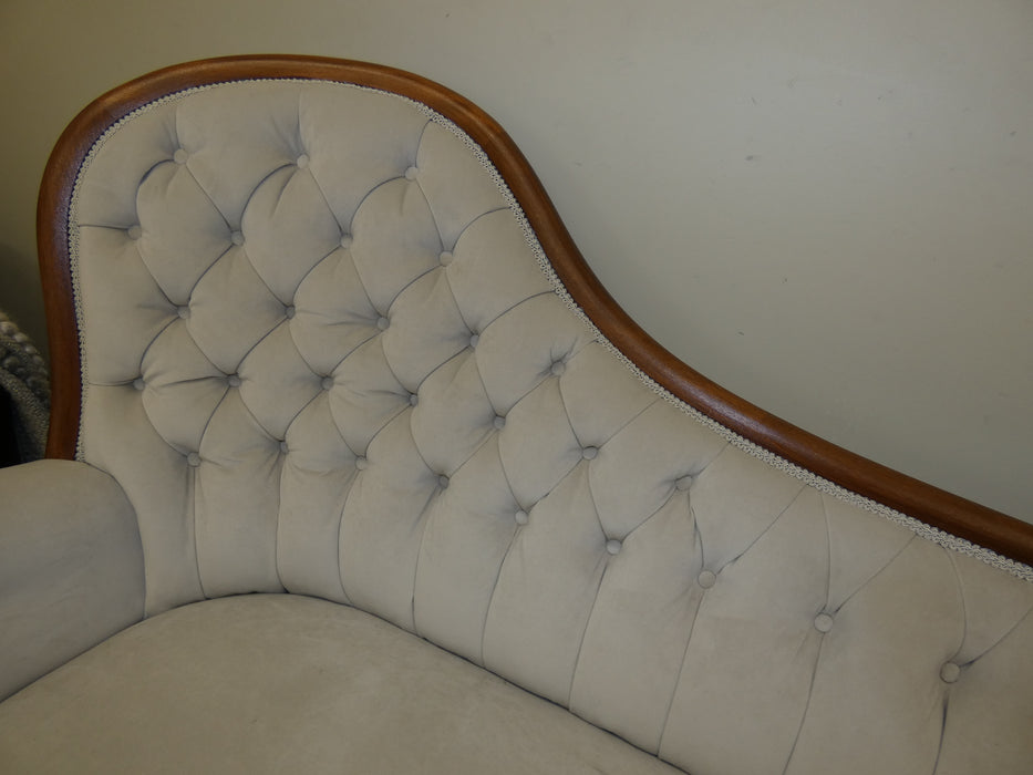 Victorian vintage chaise lounge Ivory velvet sofa-Vintage Chaise Lounge-Rugs Direct