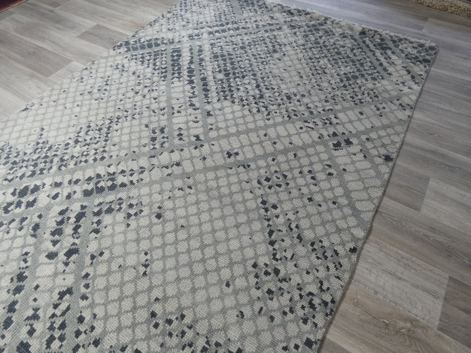 NZ Wool Hand Knotted Modern Design Rug Size: 181 x 267cm-Natural/wool Rug-Rugs Direct