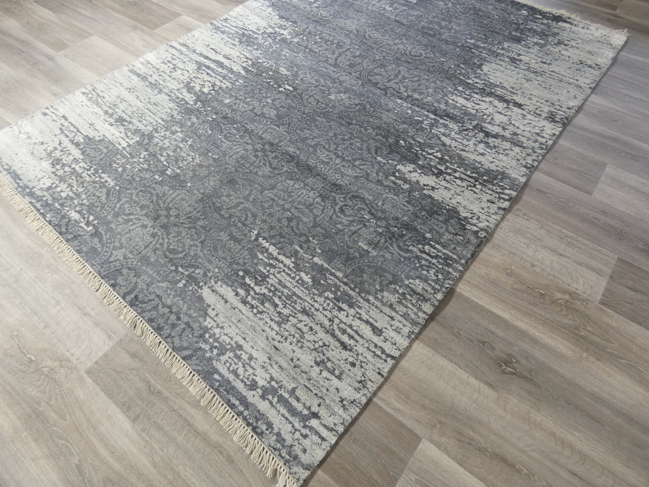 Spectacular Bamboo Silk Hand Knotted Erased Design Size: 170 x 240cm-Bamboo Silk-Rugs Direct
