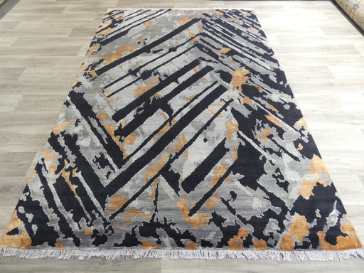 Bamboo Silk & NZ Wool Hand Knotted Modern Design Rug Size: 198 x 291cm-Modern Rug-Rugs Direct