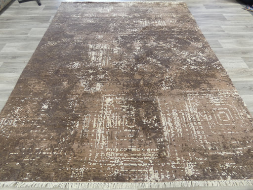 Spectacular Bamboo Silk & NZ Wool Hand Knotted Modern Erased Design Rug Size: 306 x 237cm