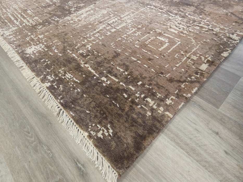 Spectacular Bamboo Silk & NZ Wool Hand Knotted Modern Erased Design Rug Size: 306 x 237cm-Bamboo Silk-Rugs Direct