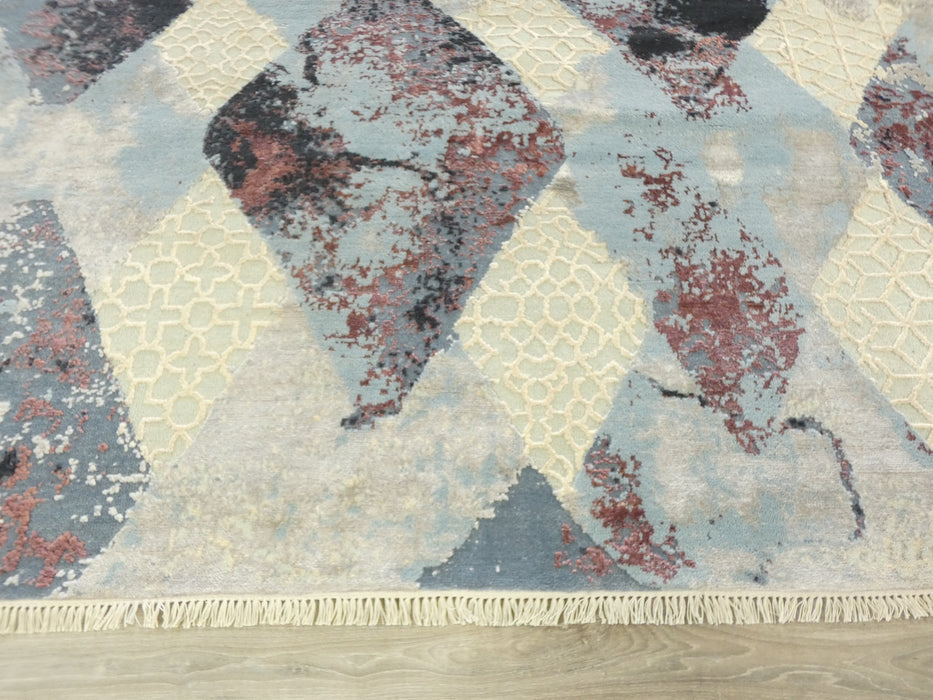 Bamboo Silk & NZ Wool Hand Knotted Contemporary Erased Design Rug Size: 202 x 298cm-Modern Rug-Rugs Direct