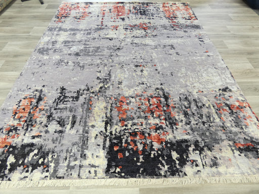 Spectacular Bamboo Silk & NZ Wool Hand Knotted Erased Design Rug Size: 240 x 300cm