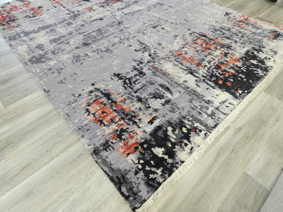 Spectacular Bamboo Silk & NZ Wool Hand Knotted Erased Design Rug Size: 240 x 300cm-Bamboo Silk-Rugs Direct