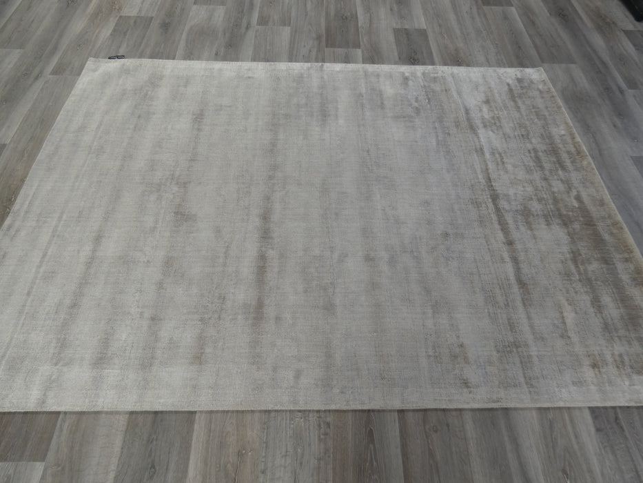 Ash Colour Hand Loomed Bamboo Silk Look Rug-Bamboo Silk-Rugs Direct