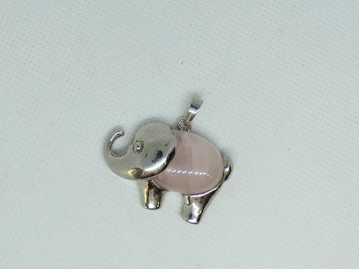 Top Quality Rose Quartz Gemstone Elephant Pendant Oval Cabochon Stone Pendant