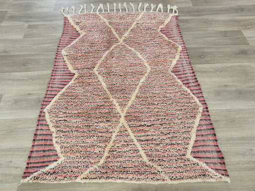 Beni Ourain, White & Pink Moroccan Rug Size: 157 x 113cm