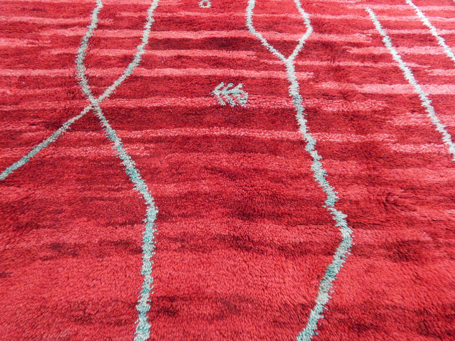 Mrirt Berber,  Red Colour Woollen Beautiful Moroccan Rug Size: 265 x 194cm