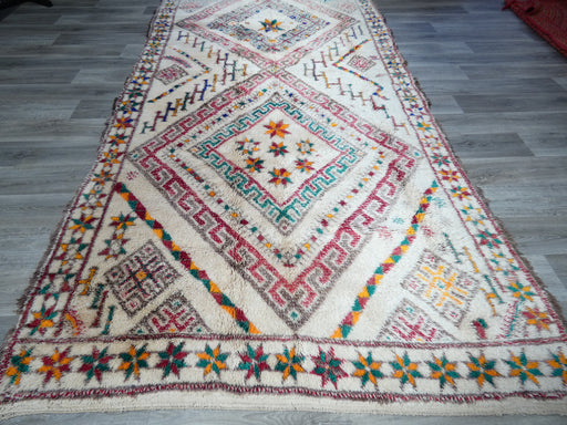 Vintage Beni Ourain Moroccan Berber Handmade Rug Size: 354 x 186cm