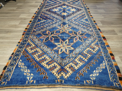 Vintage Berber Moroccan Rug with Tribal Style, Blue Indigo Beni Mguild Size: 400 x 183cm