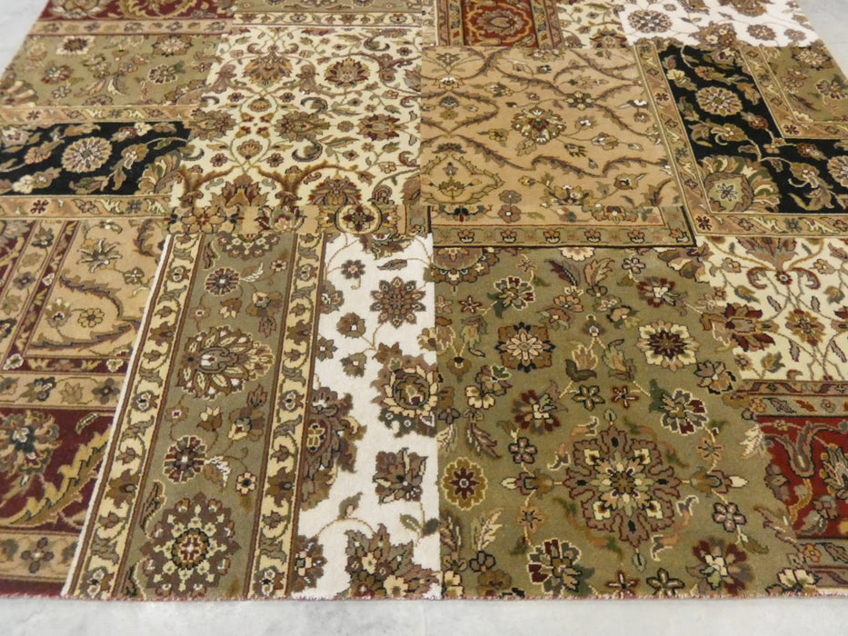 Hand Knotted Patchwork Design NZ Wool Rug Size: 248 x 301cm