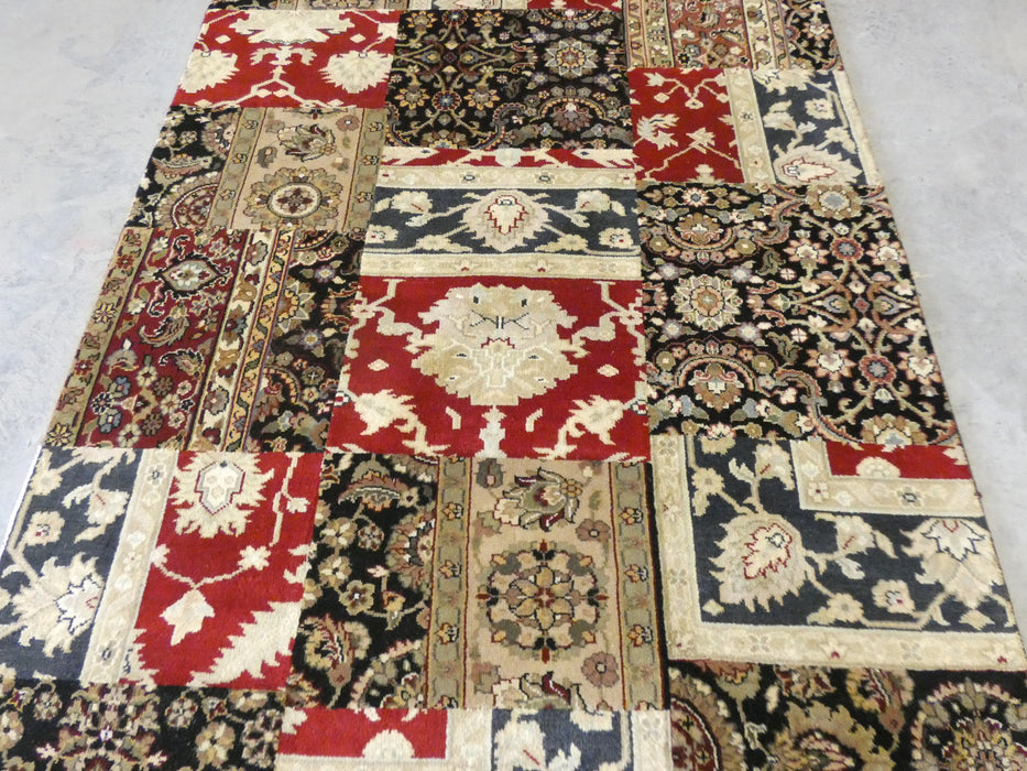 Hand Knotted Patchwork Design NZ Wool Rug Size: 152 x 244cm