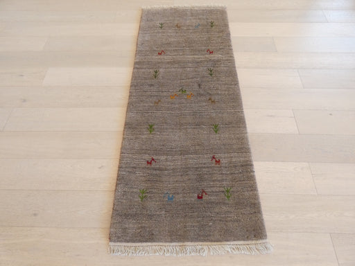 Authentic Persian Hand Knotted Gabbeh Rug Size: 77 x 200cm