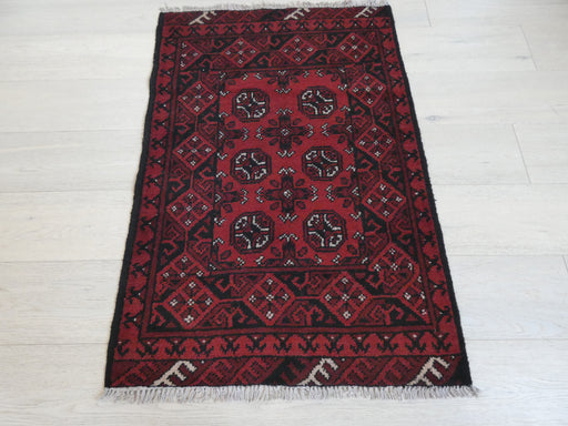Afghan Hand Knotted Turkman Rug Size: 113 x 77cm