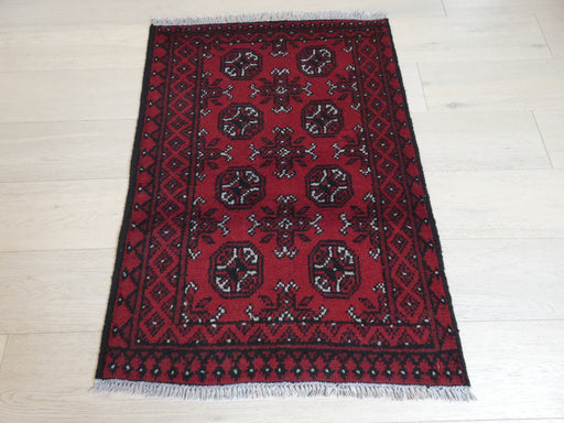 Afghan Hand Knotted Turkman Rug Size: 105 x 77cm