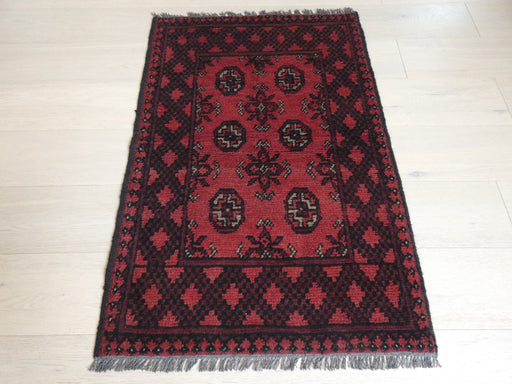 Afghan Hand Knotted Turkman Rug Size: 113 x 76cm
