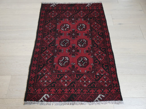 Afghan Hand Knotted Turkman Rug Size: 114 x 79cm