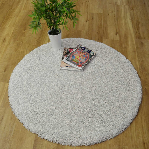 Twilight Snow White Shaggy Round Rug-Round Rug-Rugs Direct