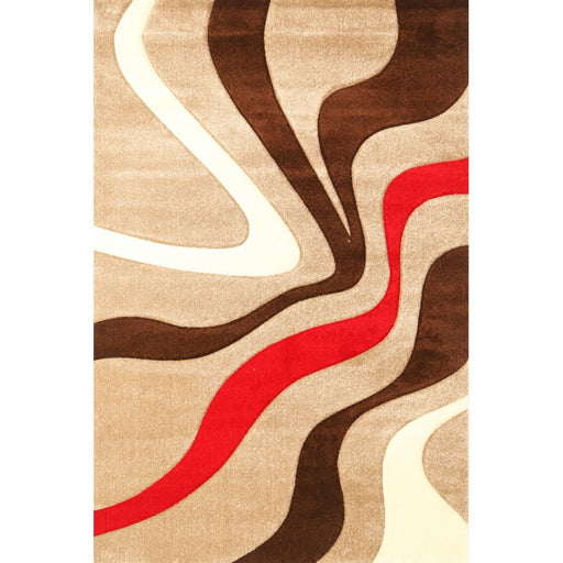Brown and Cream Waves Modern Turkish Rug-Modern Rug-Rugs Direct