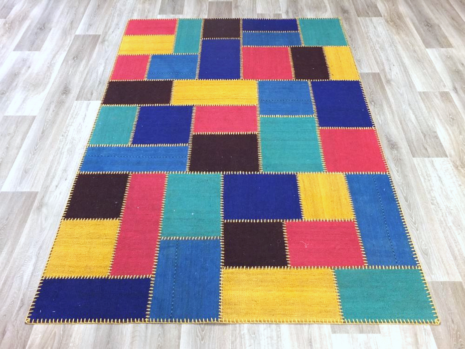 Colourful Overdyed Patchwork Rug Size: 168 x 239cm