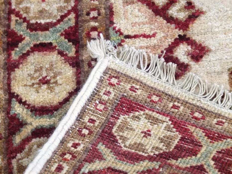 Unique Afghan Hand Knotted Creams & Red Choubi Rug Size: 62 x 86cm-Afghan Rug-Rugs Direct