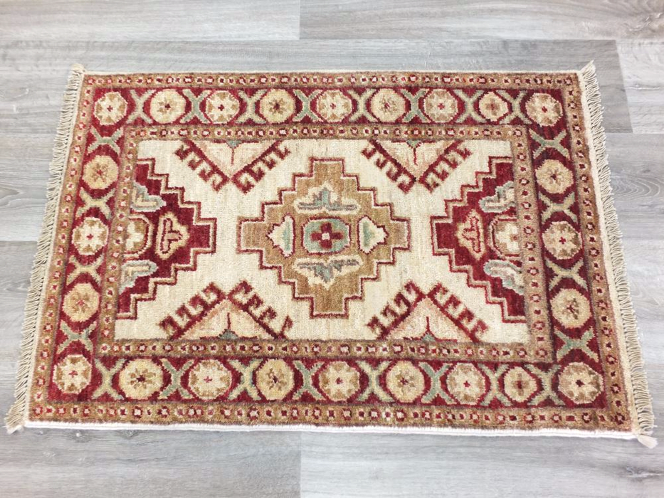 Unique Afghan Hand Knotted Creams & Red Choubi Rug Size: 62 x 86cm