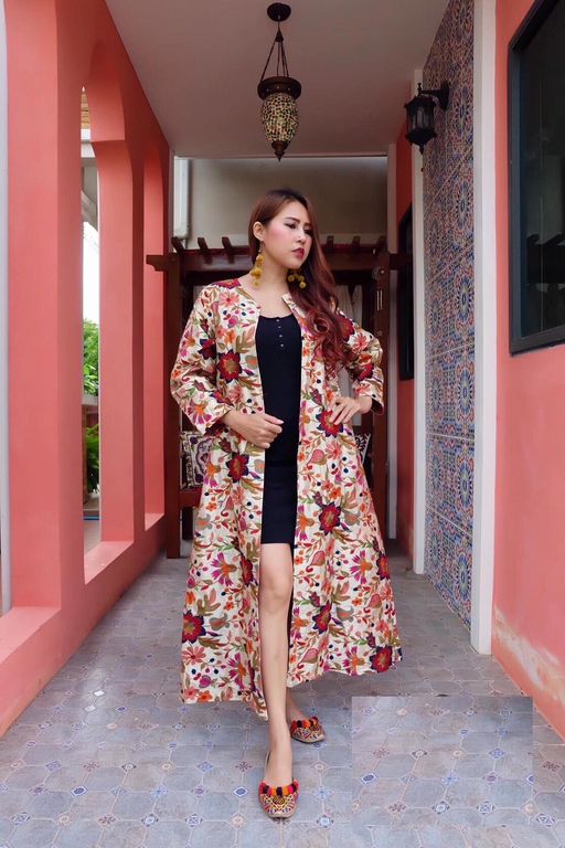 EMBROIDERED THAI SILK DUSTER JACKET