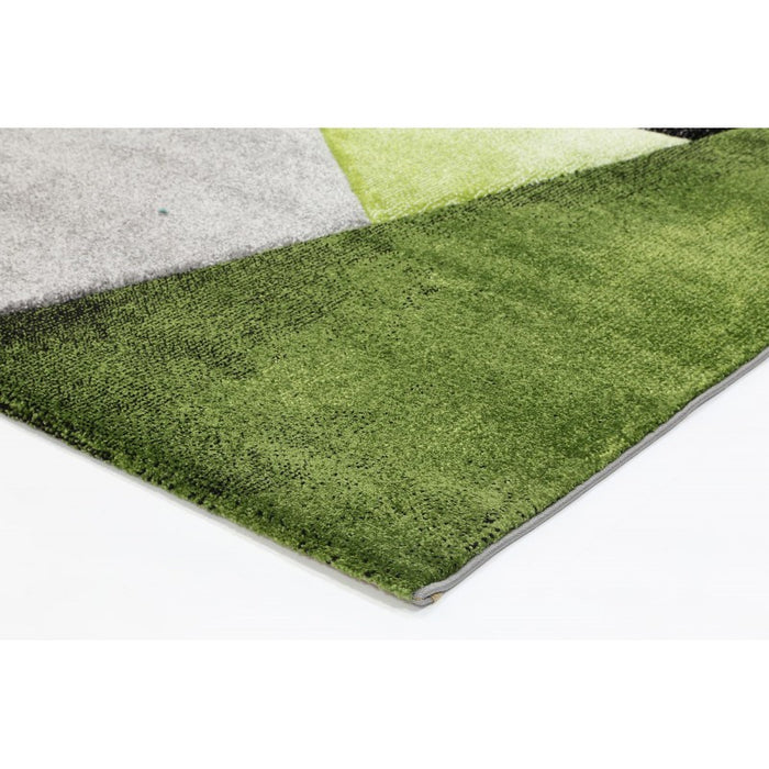 Abstract Grey and Green Colour Rug