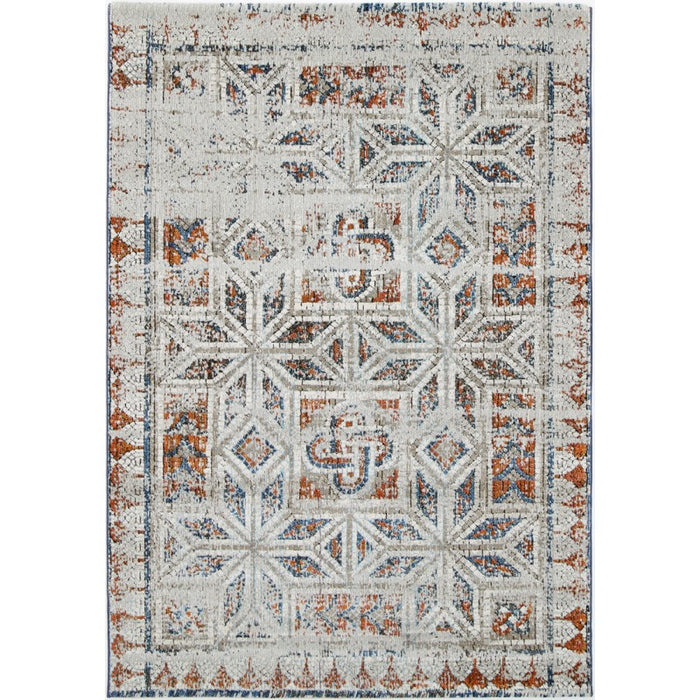 Roman Geometric Mosaic Navy Red Turkish Rug-Modern Rug-Rugs Direct