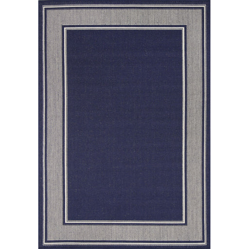 Navy Colour Sisal Look Flatweave Rug